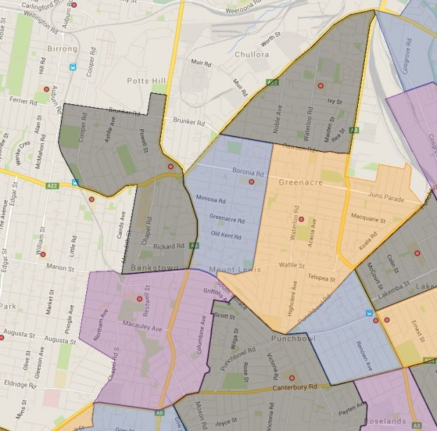 Chullora, Banksia Road, Bankstown, Bankstown North and Greenacre Public School Catchment Map Added