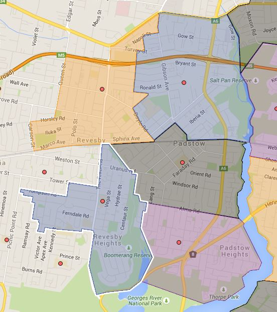 Padstow Heights, Padstow Park, Padstow South, Reversby and Reversby South Public School Catchment Map Added