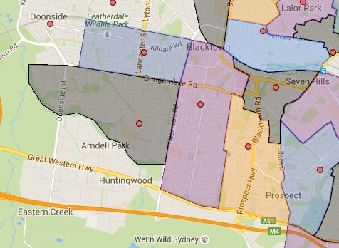Bert Oldfield, Blacktown South, Blacktown West, Shelley and Walters Road Public School Catchment Maps Added