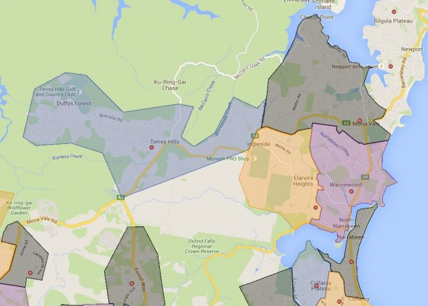 Elanora Heights, Narrabeen Lakes, Narrabeen North, Mona Vale and Terry Hills Public School Catchment Map Added