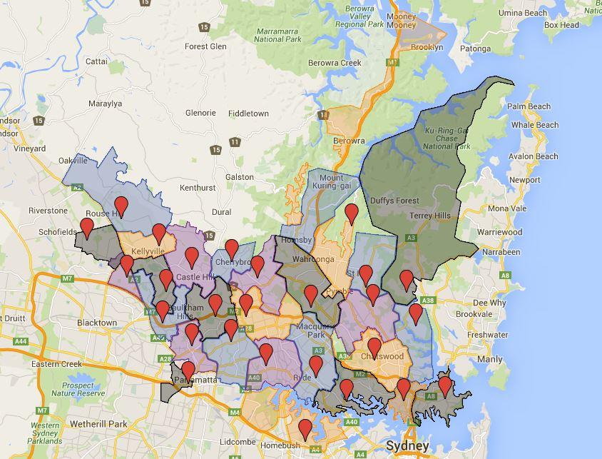 Map Of Nsw And Victoria Australia.Sydney High School Catchment Map Australian Public School Information