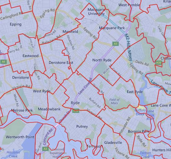 2019 Northern Sydney Catchment around Ryde Area
