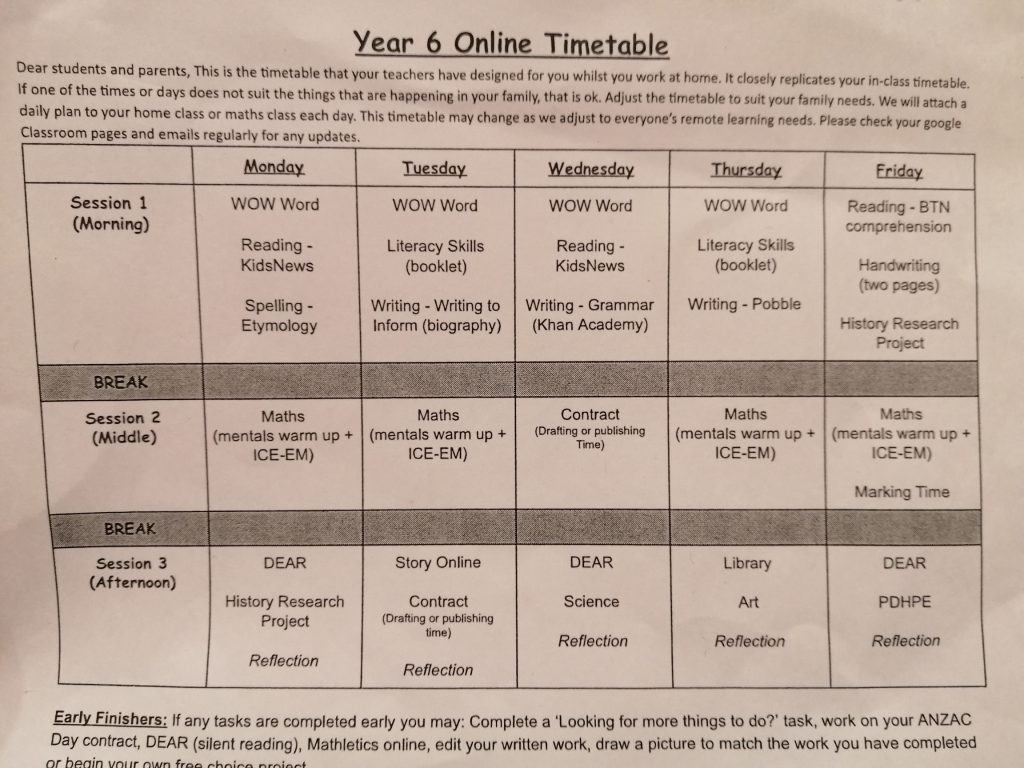 Year Six Online Learning Schedule